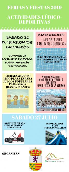 Ferias y fiestas 2019 Actividades lúdico-deportivas