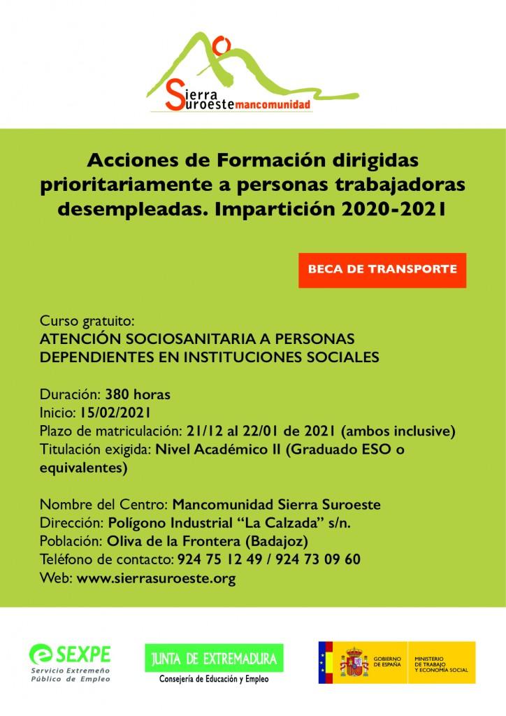 cartel curso SEXPE SOCIOSANITARIA_mancomunidad