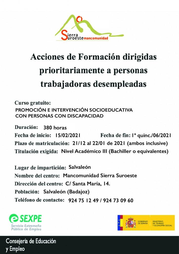 cartel curso SEXPE SOCIOSEDUCATIVA_mancomunidad